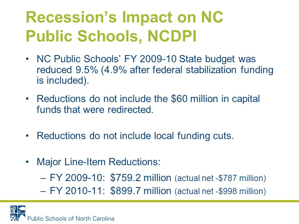 Recessions Impact on NC Public Schools, NCDPI NC Public Schools FY 2009-10 State budget was reduced 9.5% (4.9% after federal stabilization funding is