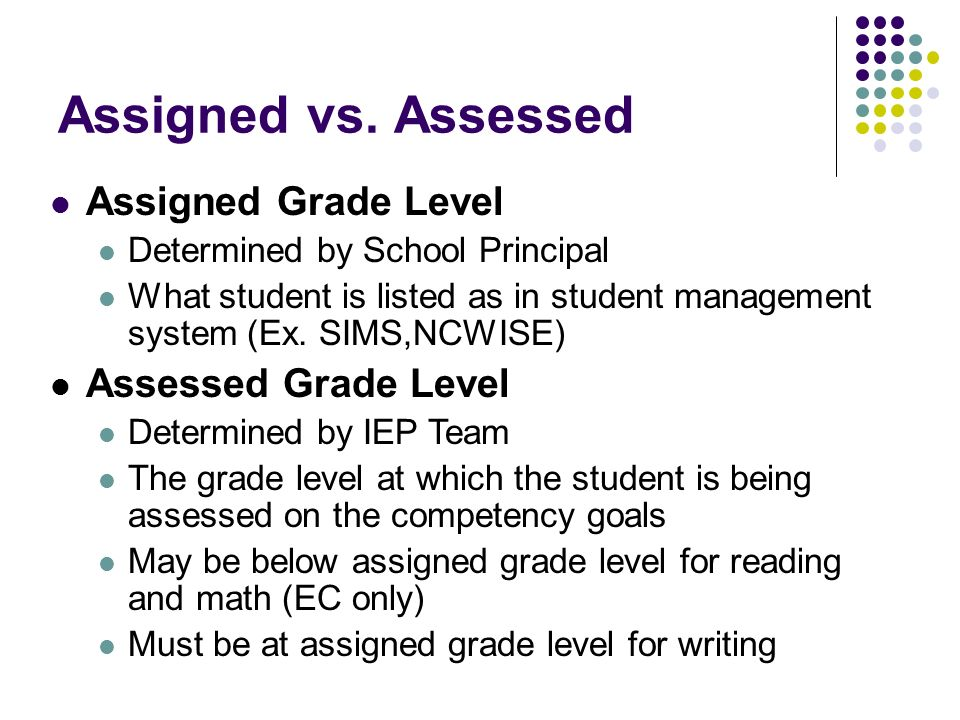 Assigned Grade Level Determined by School Principal What student is listed as in student management system (Ex.