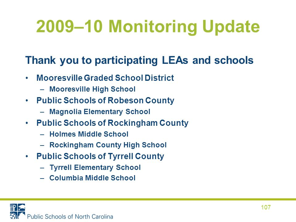 2009–10 Monitoring Update Thank you to participating LEAs and schools Mooresville Graded School District –Mooresville High School Public Schools of Robeson County –Magnolia Elementary School Public Schools of Rockingham County –Holmes Middle School –Rockingham County High School Public Schools of Tyrrell County –Tyrrell Elementary School –Columbia Middle School 107