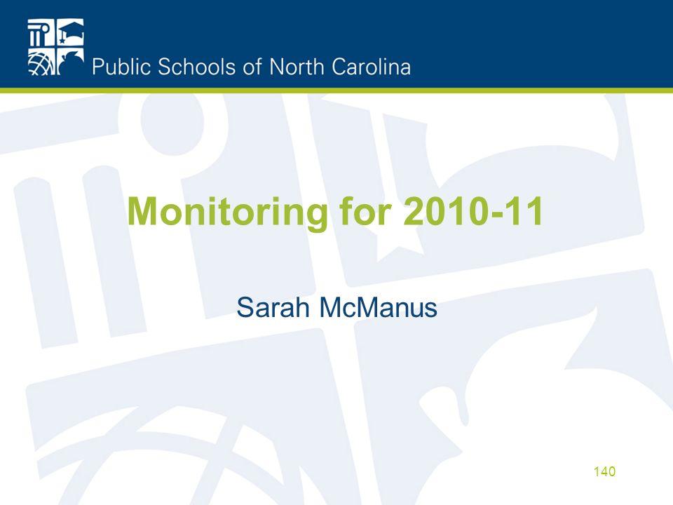 Monitoring for 2010-11 Sarah McManus 140