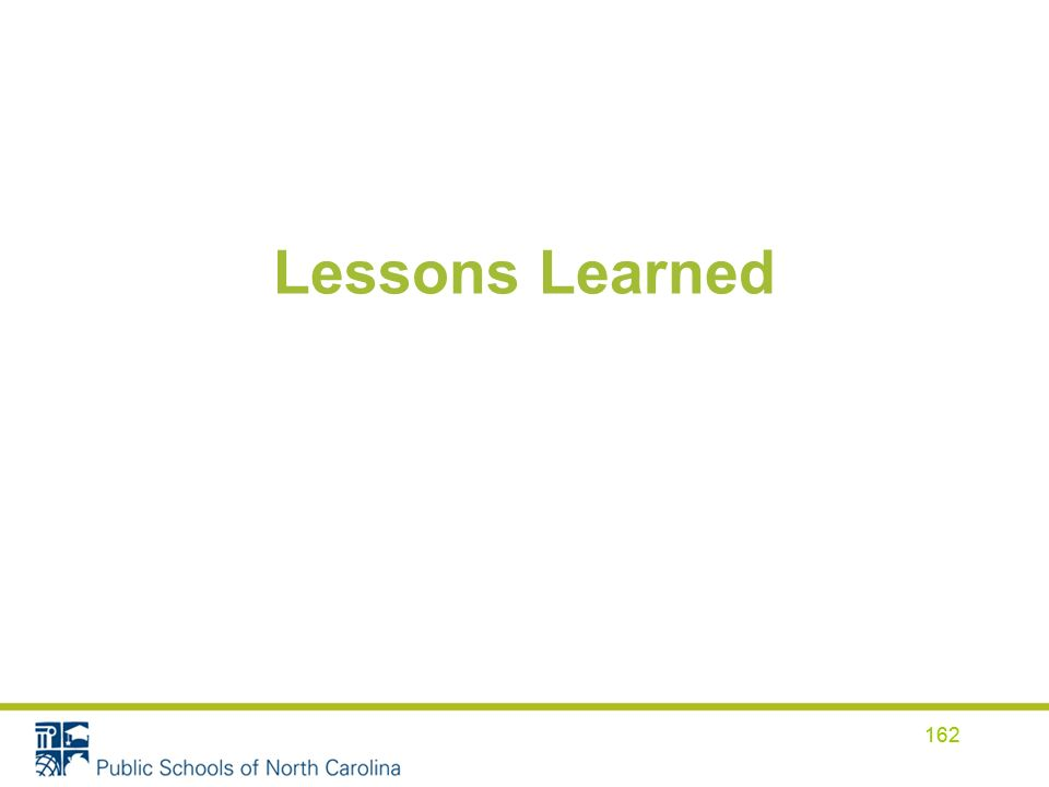 Lessons Learned 162
