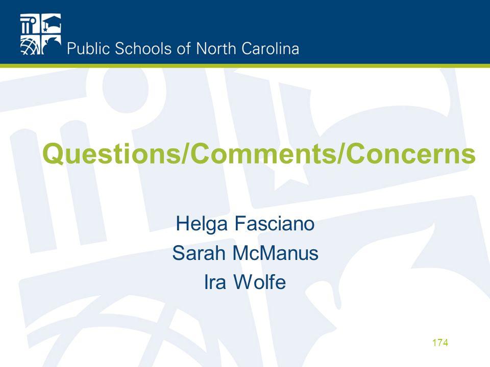 Questions/Comments/Concerns Helga Fasciano Sarah McManus Ira Wolfe 174
