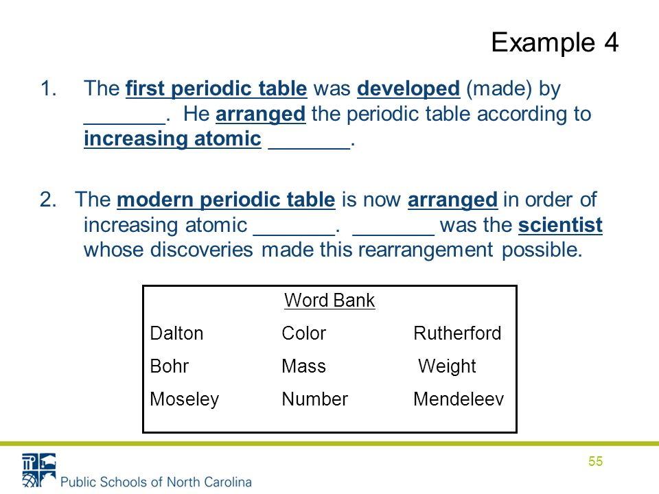 Example 4 1.The first periodic table was developed (made) by _______.