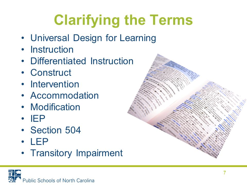 Universal Design for Learning A set of principles that give all individuals equal opportunities to learn.