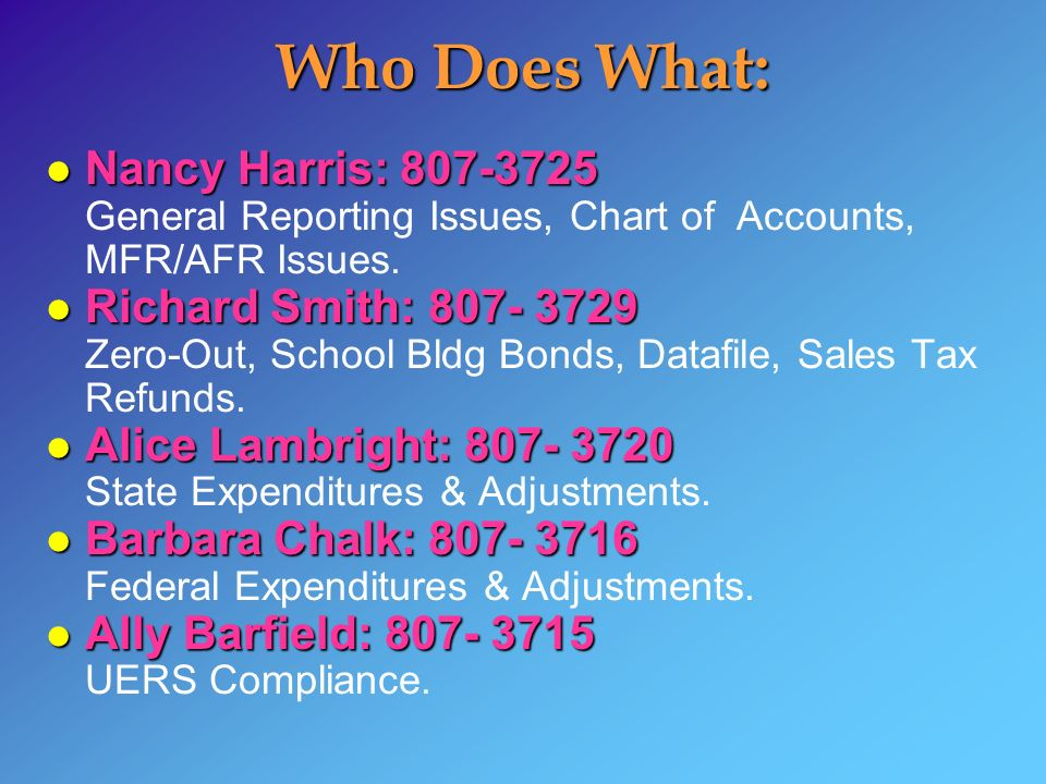 Who Does What: l Nancy Harris: 807-3725 l Nancy Harris: 807-3725 General Reporting Issues, Chart of Accounts, MFR/AFR Issues. l Richard Smith: 807- 37