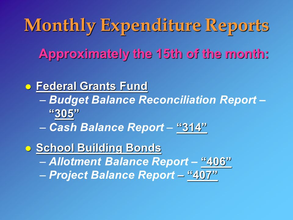 Monthly Expenditure Reports Approximately the 15th of the month: l Federal Grants Fund 305 –Budget Balance Reconciliation Report – –Cash Balance Report – 314 l School Building Bonds 406 –Allotment Balance Report – 406 – 407 –Project Balance Report – 407