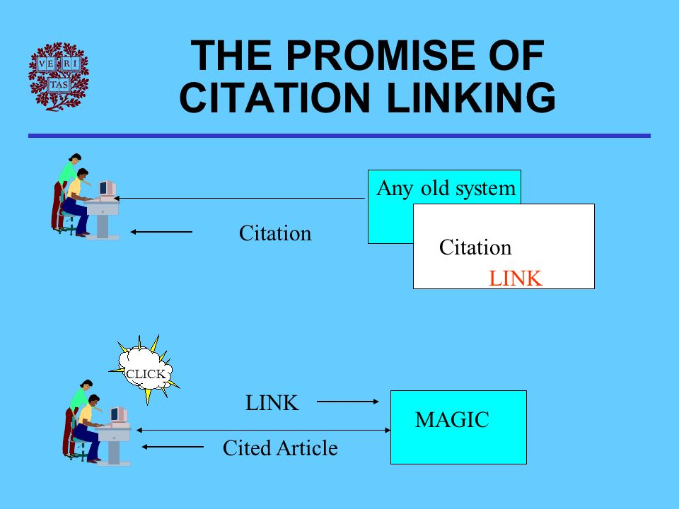 Citation LINK MAGIC LINK Cited Article Citation THE PROMISE OF CITATION LINKING CLICK Any old system