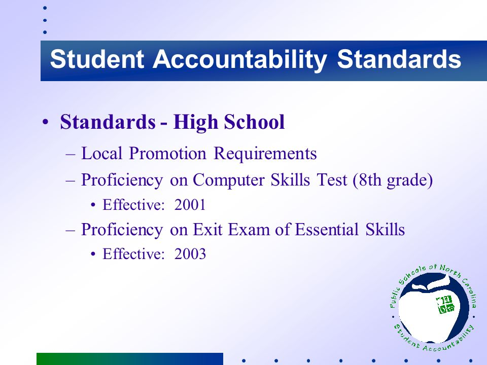 Student Accountability Standards Standards - Grade 8 –Local Promotion Requirements –Level III or Above on EOG Tests –Adequate Progress in Writing Effective Date: