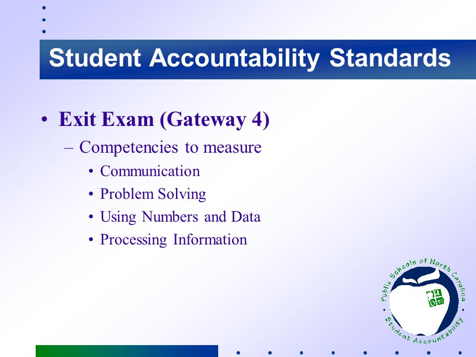 Student Accountability Standards Standards - High School –Local Promotion Requirements –Proficiency on Computer Skills Test (8th grade) Effective: 2001 –Proficiency on Exit Exam of Essential Skills Effective: 2003