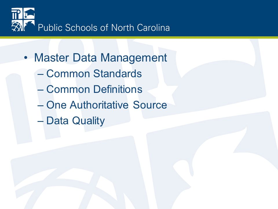 Master Data Management –Common Standards –Common Definitions –One Authoritative Source –Data Quality