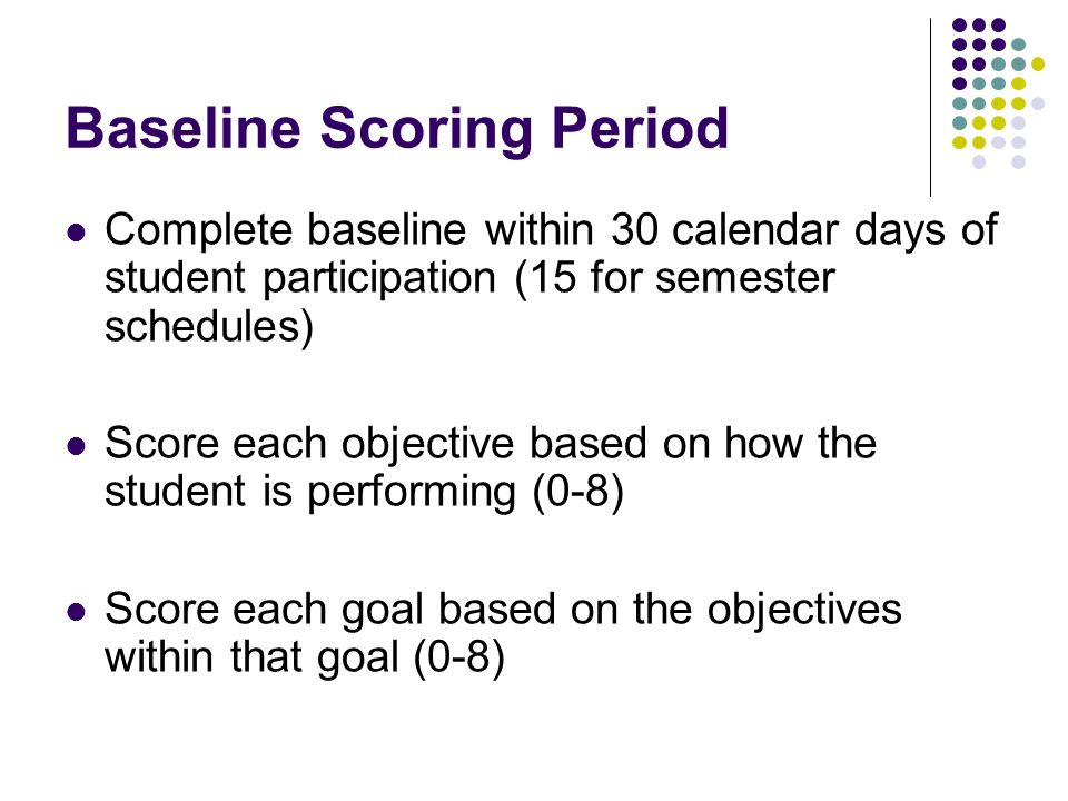 Baseline Scoring Period Complete baseline within 30 calendar days of student participation (15 for semester schedules) Score each objective based on how the student is performing (0-8) Score each goal based on the objectives within that goal (0-8)