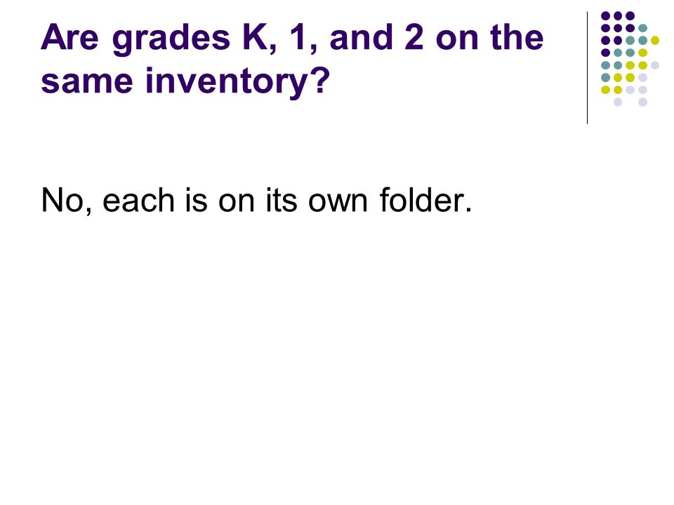 Are grades K, 1, and 2 on the same inventory No, each is on its own folder.