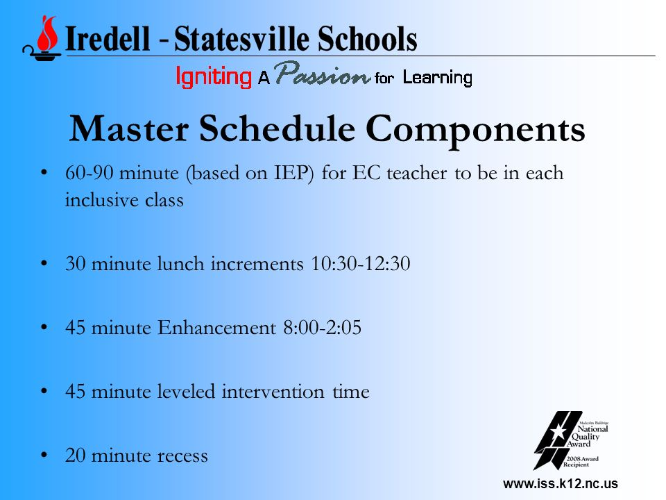 www.iss.k12.nc.us Master Schedule Components 60-90 minute (based on IEP) for EC teacher to be in each inclusive class 30 minute lunch increments 10:30-12:30 45 minute Enhancement 8:00-2:05 45 minute leveled intervention time 20 minute recess