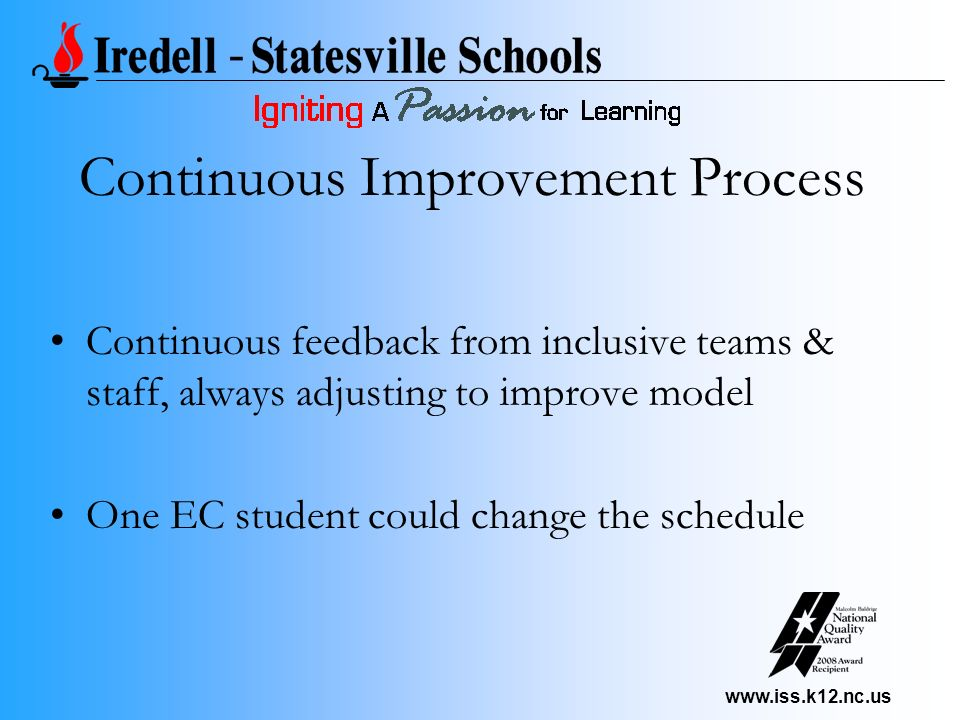 www.iss.k12.nc.us Continuous Improvement Process Continuous feedback from inclusive teams & staff, always adjusting to improve model One EC student co
