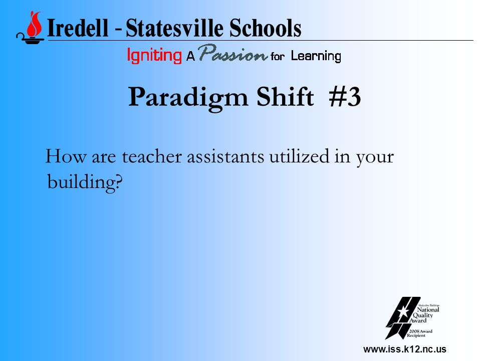 www.iss.k12.nc.us How are teacher assistants utilized in your building? Paradigm Shift #3