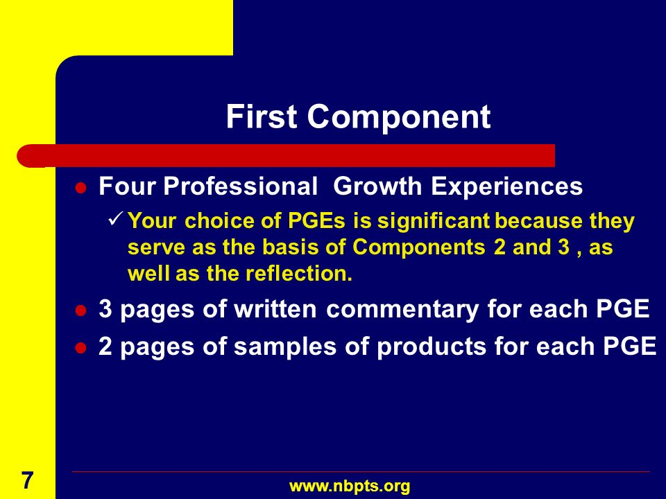 August 2001 www.nbpts.org 6 A Profile of Professional Growth Three components Documentation of PGEs One reflection At least one video Possible student