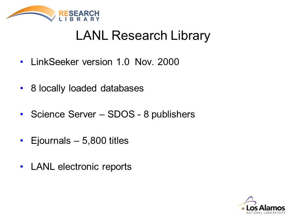 LANL Research Library LinkSeeker version 1.0 Nov.