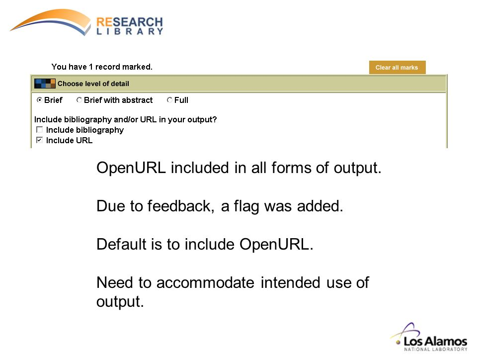 OpenURL included in all forms of output. Due to feedback, a flag was added.