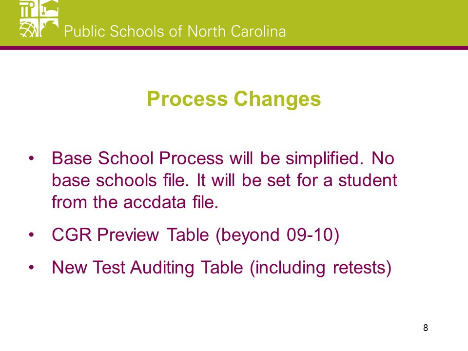Base School Process will be simplified. No base schools file.