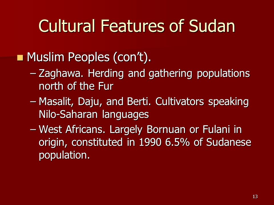 13 Cultural Features of Sudan Muslim Peoples (cont). Muslim Peoples (cont). –Zaghawa. Herding and gathering populations north of the Fur –Masalit, Daj