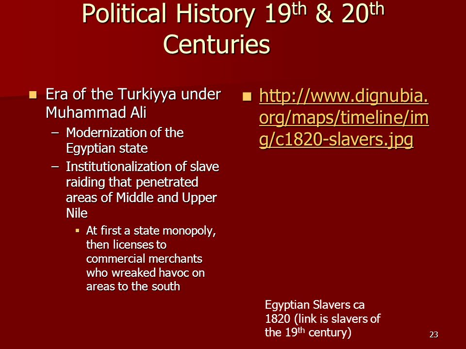 23 Political History 19 th & 20 th Centuries Era of the Turkiyya under Muhammad Ali Era of the Turkiyya under Muhammad Ali –Modernization of the Egypt