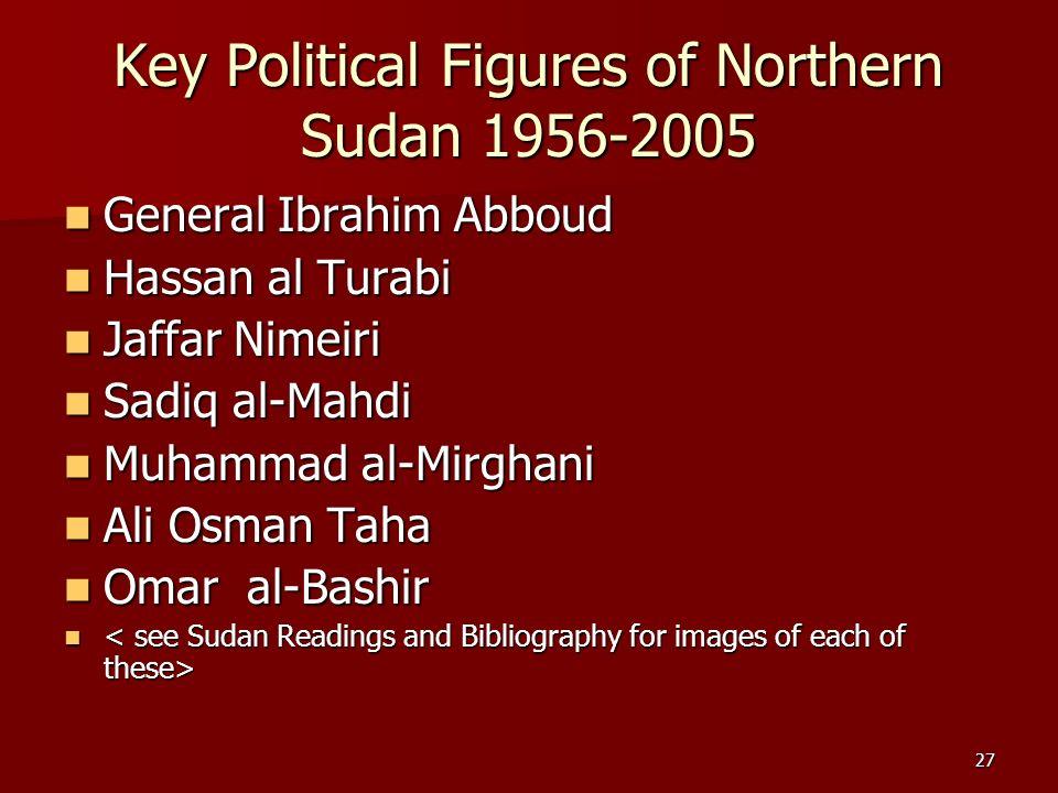 27 Key Political Figures of Northern Sudan 1956-2005 General Ibrahim Abboud General Ibrahim Abboud Hassan al Turabi Hassan al Turabi Jaffar Nimeiri Ja