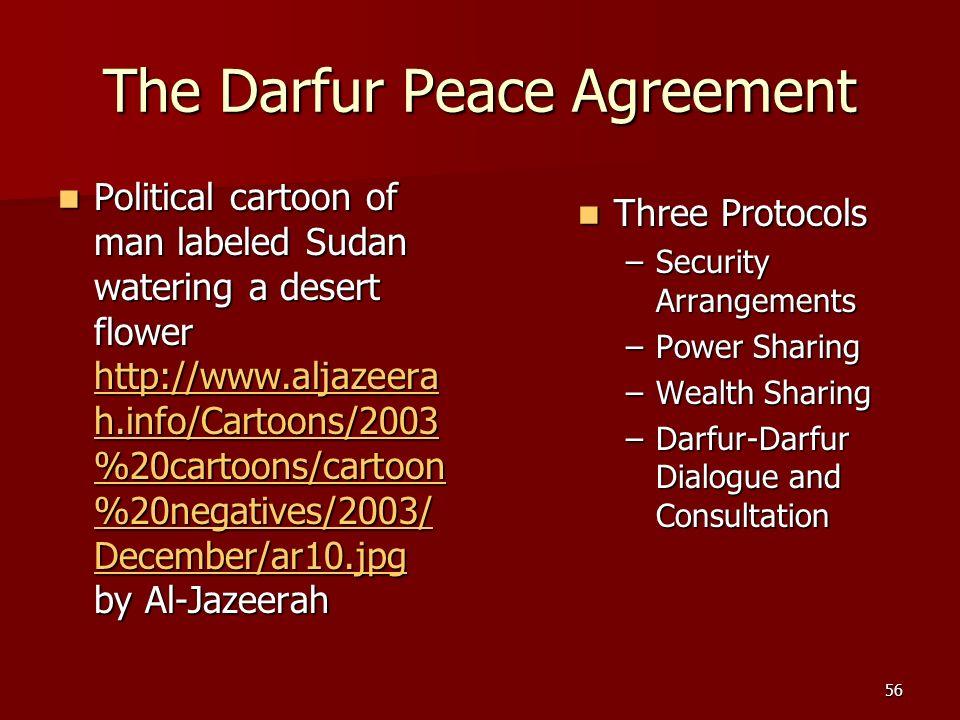 56 The Darfur Peace Agreement Three Protocols Three Protocols –Security Arrangements –Power Sharing –Wealth Sharing –Darfur-Darfur Dialogue and Consul