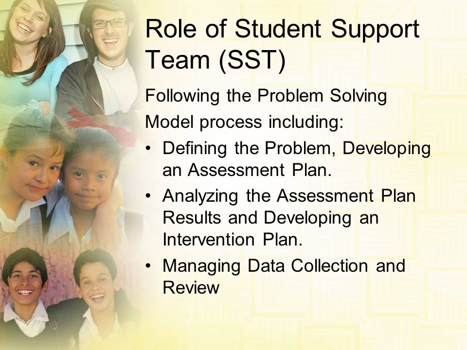 Role of Student Support Team (SST) Following the Problem Solving Model process including: Defining the Problem, Developing an Assessment Plan. Analyzi