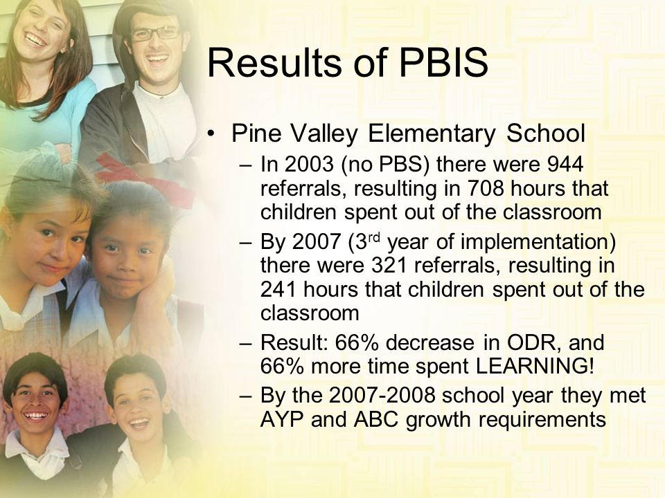 Results of PBIS Pine Valley Elementary School –In 2003 (no PBS) there were 944 referrals, resulting in 708 hours that children spent out of the classr