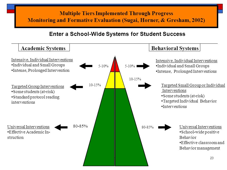 Reschly RTI23 Academic SystemsBehavioral Systems 5-10% 10-15% Intensive, Individual Interventions Individual and Small Groups Intense, Prolonged Inter