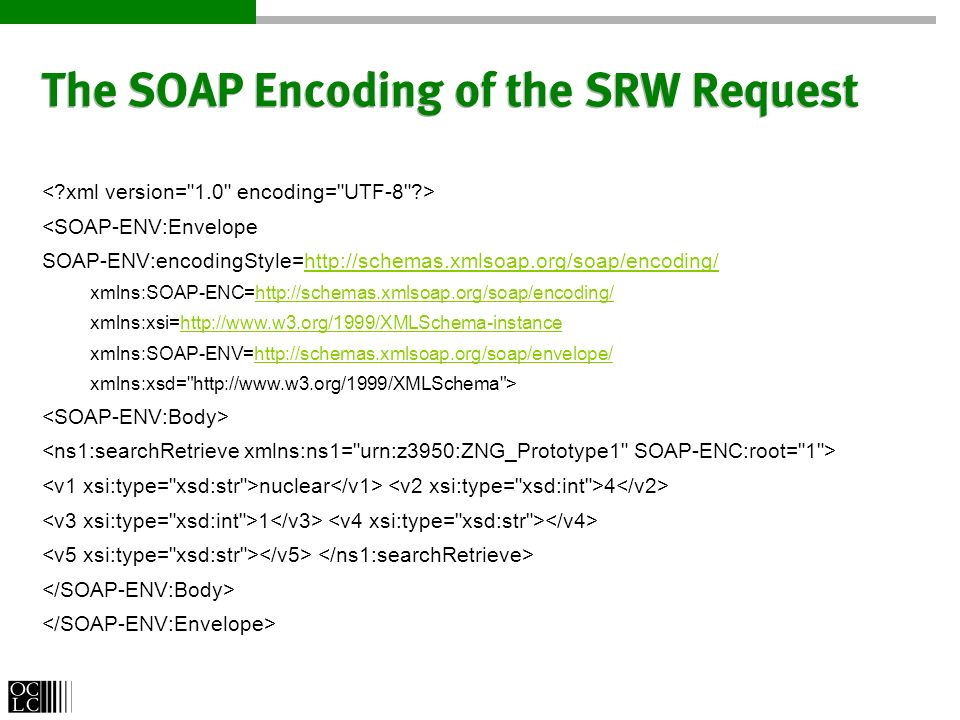 The SOAP Encoding of the SRW Request <SOAP-ENV:Envelope SOAP-ENV:encodingStyle=http://schemas.xmlsoap.org/soap/encoding/http://schemas.xmlsoap.org/soap/encoding/ xmlns:SOAP-ENC=http://schemas.xmlsoap.org/soap/encoding/http://schemas.xmlsoap.org/soap/encoding/ xmlns:xsi=http://www.w3.org/1999/XMLSchema-instancehttp://www.w3.org/1999/XMLSchema-instance xmlns:SOAP-ENV=http://schemas.xmlsoap.org/soap/envelope/http://schemas.xmlsoap.org/soap/envelope/ xmlns:xsd= http://www.w3.org/1999/XMLSchema > nuclear 4 1