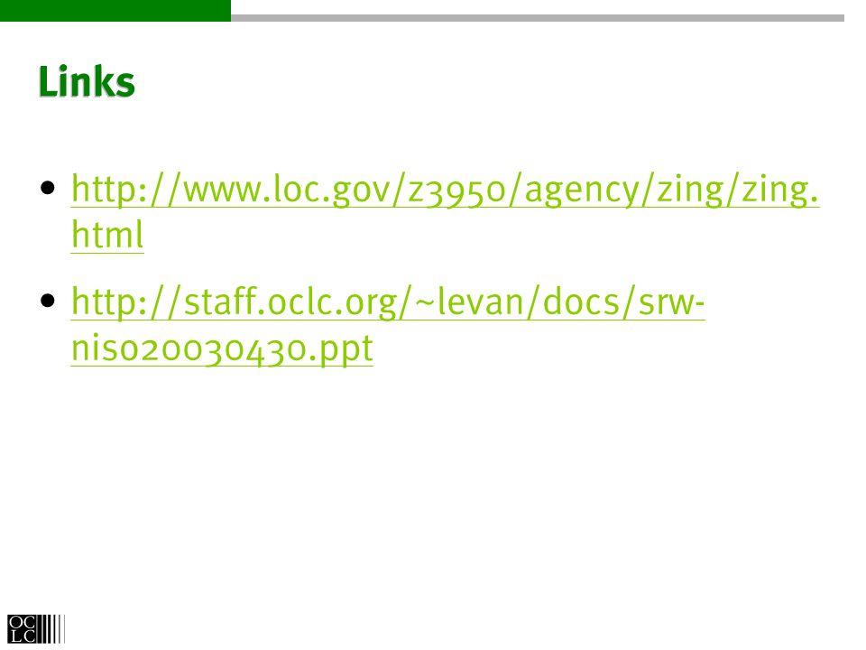 Links http://www.loc.gov/z3950/agency/zing/zing. html http://www.loc.gov/z3950/agency/zing/zing. html http://staff.oclc.org/~levan/docs/srw- niso20030