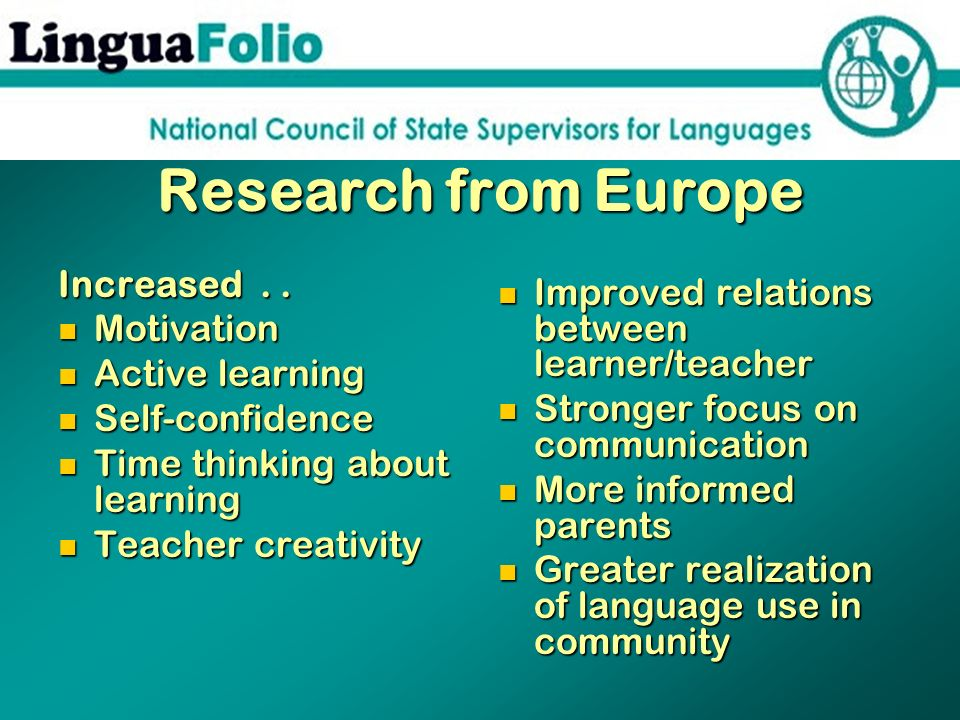 Research from Europe Increased.. Motivation Motivation Active learning Active learning Self-confidence Self-confidence Time thinking about learning Ti