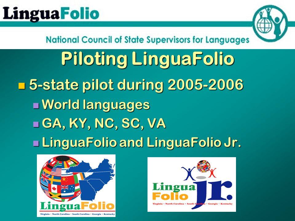Piloting LinguaFolio 5-state pilot during 2005-2006 5-state pilot during 2005-2006 World languages World languages GA, KY, NC, SC, VA GA, KY, NC, SC,