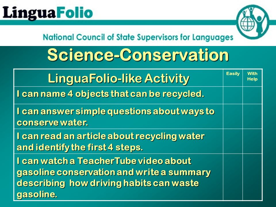 Science-Conservation LinguaFolio-like Activity EasilyWith Help I can name 4 objects that can be recycled. I can answer simple questions about ways to