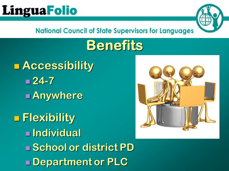 Benefits Accessibility Accessibility 24-7 24-7 Anywhere Anywhere Flexibility Flexibility Individual Individual School or district PD School or distric
