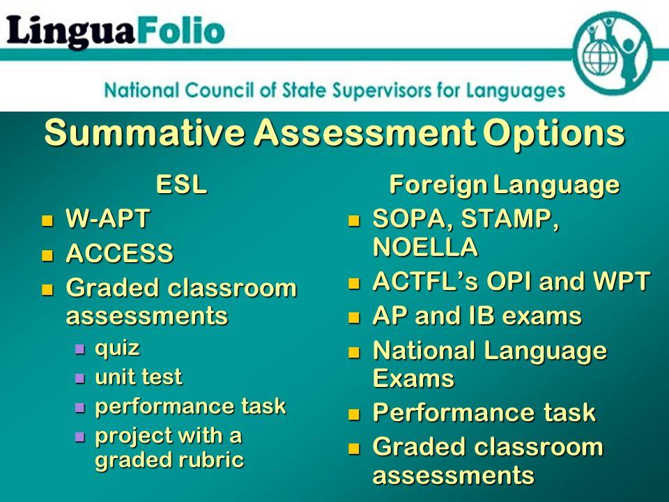 Summative Assessment Options ESL W-APT W-APT ACCESS ACCESS Graded classroom assessments Graded classroom assessments quiz quiz unit test unit test per
