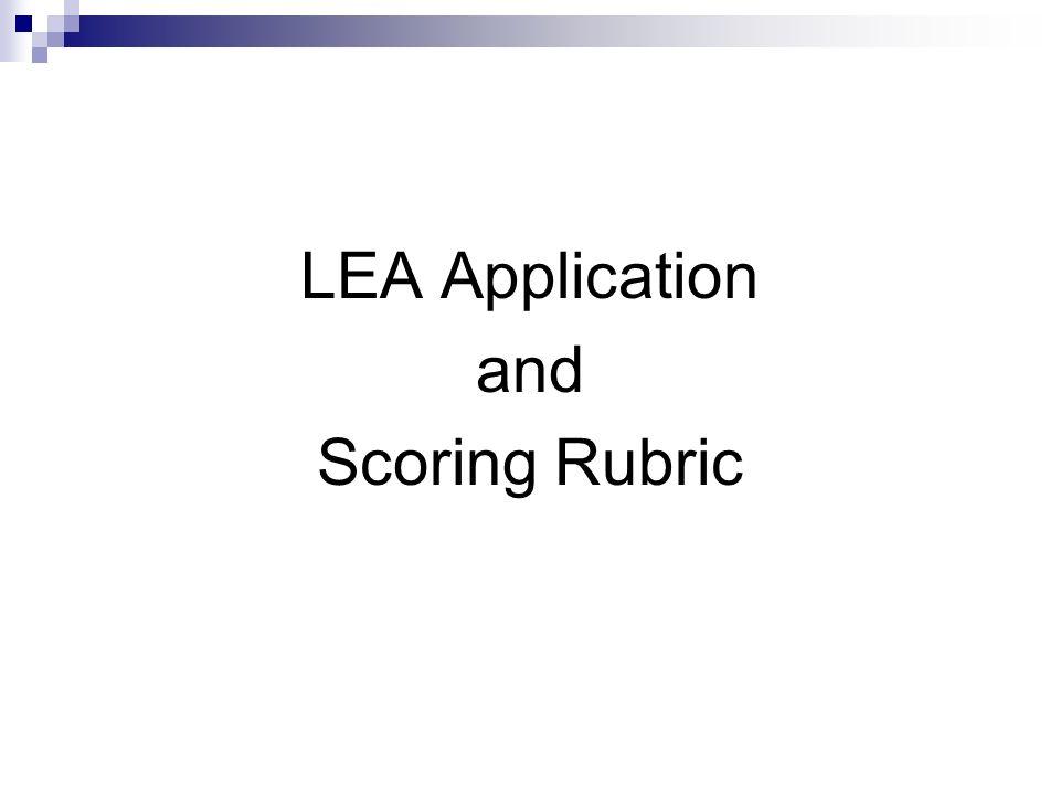 LEA Application and Scoring Rubric