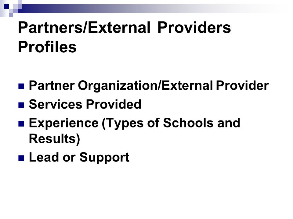 Partners/External Providers Profiles Partner Organization/External Provider Services Provided Experience (Types of Schools and Results) Lead or Support