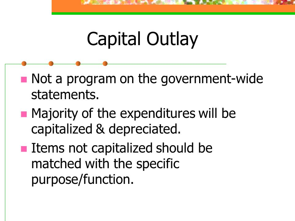 Capital Outlay Not a program on the government-wide statements.