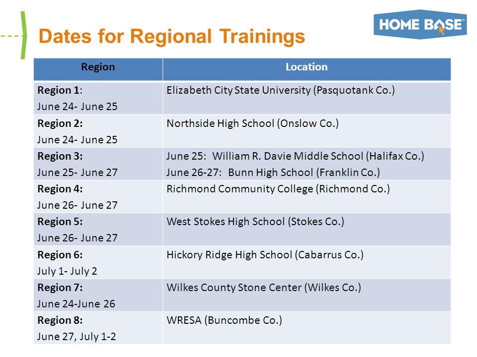 Dates for Regional Trainings RegionLocation Region 1: June 24- June 25 Elizabeth City State University (Pasquotank Co.) Region 2: June 24- June 25 Northside High School (Onslow Co.) Region 3: June 25- June 27 June 25: William R.