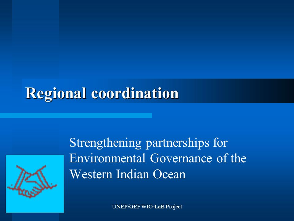 UNEP/GEF WIO-LaB Project Regional coordination Strengthening partnerships for Environmental Governance of the Western Indian Ocean