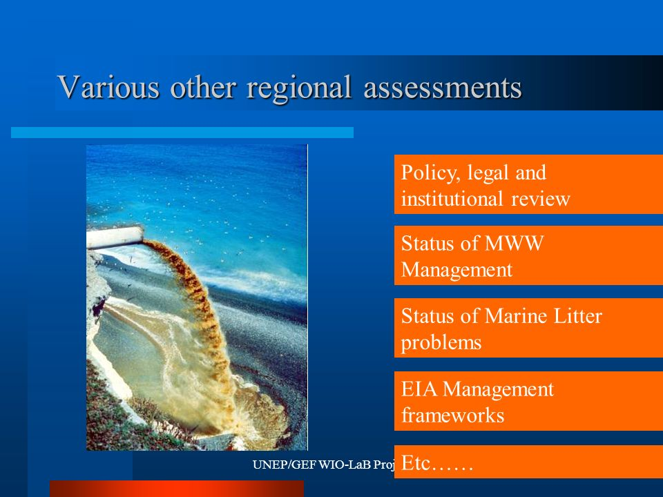 UNEP/GEF WIO-LaB Project9 Various other regional assessments Policy, legal and institutional review Status of Marine Litter problems Status of MWW Management EIA Management frameworks Etc……