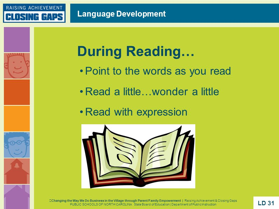 Point to the words as you read Read a little…wonder a little Read with expression During Reading… Language Development Changing the Way We Do Business