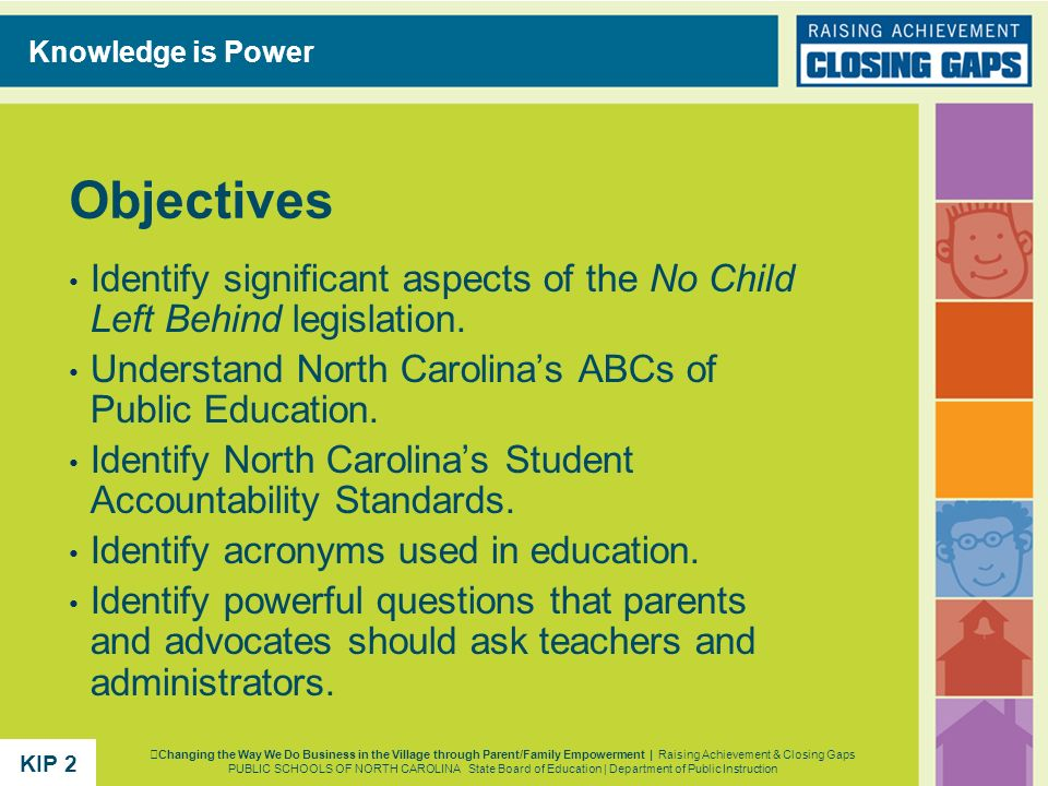 Objectives Identify significant aspects of the No Child Left Behind legislation. Understand North Carolinas ABCs of Public Education. Identify North C