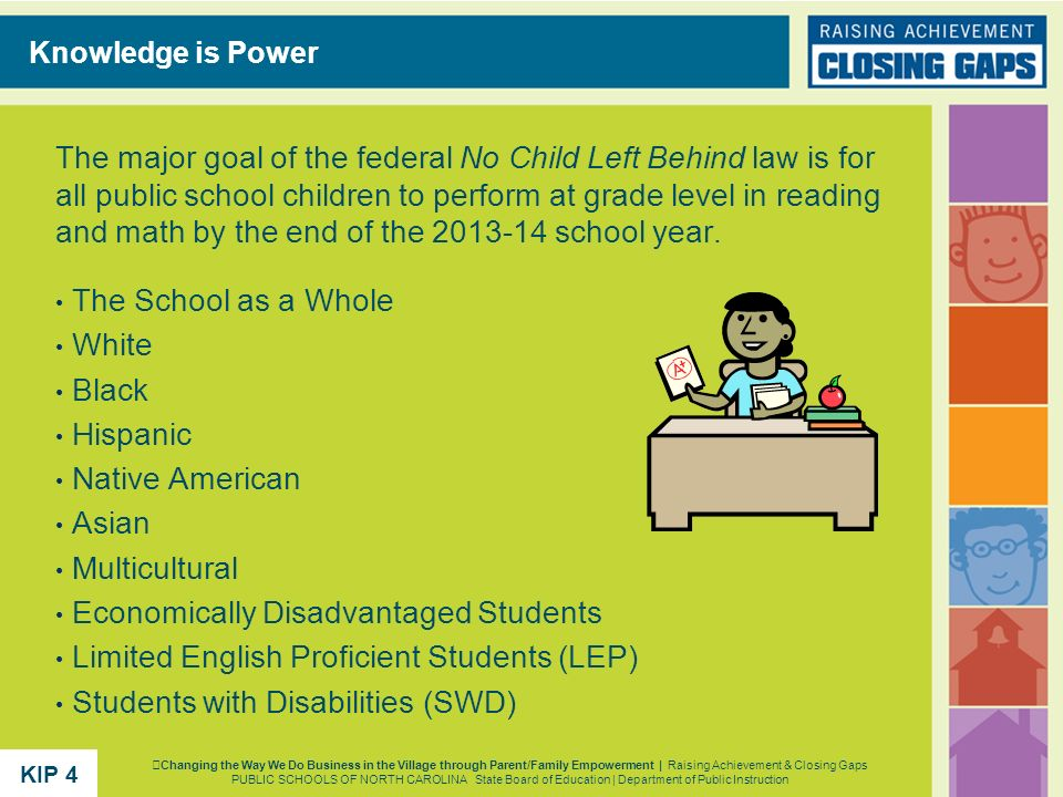 The major goal of the federal No Child Left Behind law is for all public school children to perform at grade level in reading and math by the end of t