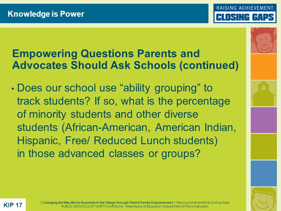 Does our school use ability grouping to track students? If so, what is the percentage of minority students and other diverse students (African-America