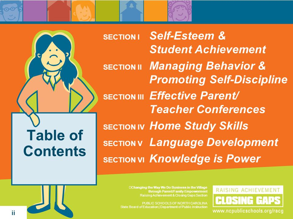 Table of Contents SECTION I Self-Esteem & Student Achievement SECTION II Managing Behavior & Promoting Self-Discipline SECTION III Effective Parent/ T