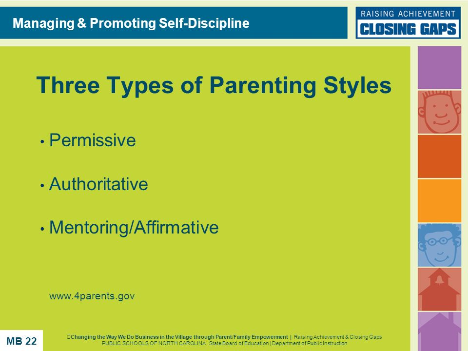 Three Types of Parenting Styles Permissive Authoritative Mentoring/Affirmative www.4parents.gov Managing & Promoting Self-Discipline Changing the Way