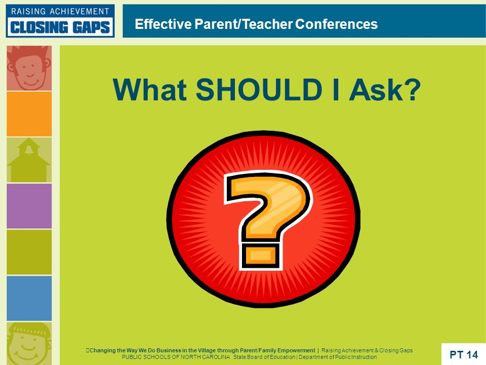 What SHOULD I Ask? Effective Parent/Teacher Conferences Changing the Way We Do Business in the Village through Parent/Family Empowerment | Raising Ach